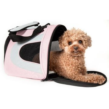 Pet Life Folding Zippered Sporty Mesh Pet Carrier in Pink & Gray, 18