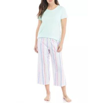 Hue Women's Brushed Stripe Capri Pajama Set - -