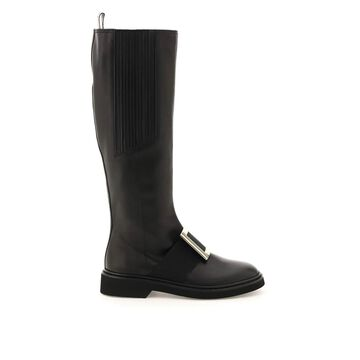 Roger vivier viv rangers leather boots with buckle