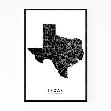 Noir Gallery Texas Black State Map Framed Art Print