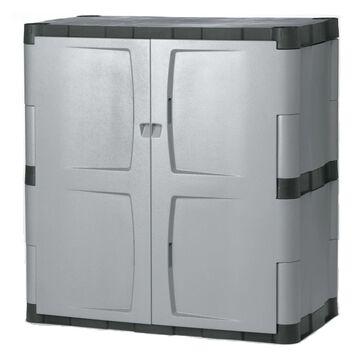 Rubbermaid 36-in W x 37-in H x 18-in D Plastic Freestanding Garage Cabinet in Gray   FG708500MICHR
