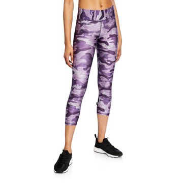 Camo Capri Leggings, Purple