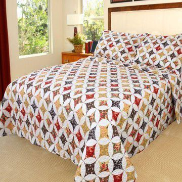 ''Lavish Home Cassandra Printed 3-Piece Quilt Set, Full/Queen, New, Free Shipping''
