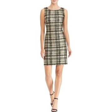 American Living Womens Metallic Plaid Cocktail Dress