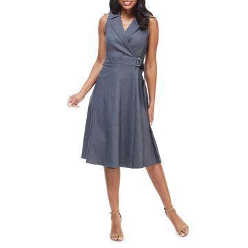 Notched Collar Wrap Midi Dress
