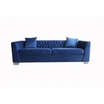 Armen Living Cambridge Velvet Sofa in Stainless Steel (Blue)