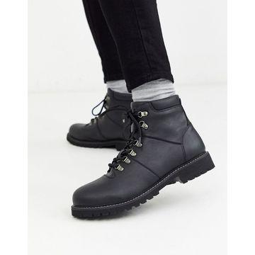 Jack & Jones faux leather hiking boot-Black
