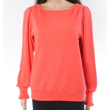 Gibson Red Orange Ruffled Women's Size Small S Boat Neck Sweater