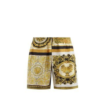 Versace - Baroque And Leopard-print Silk Shorts - Mens - Brown