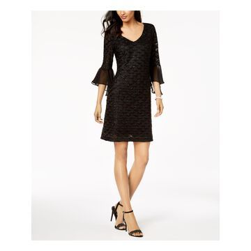 CONNECTED APPAREL Womens Black Glitter Illusion Bell Sleeve V Neck Above The Knee Sheath Cocktail Dress Petites Size: 6