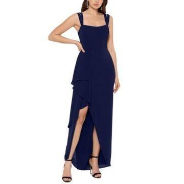 Xscape Double-Strap Cascade-Ruffle Gown