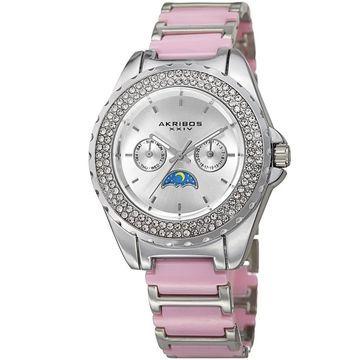 Akribos XXIV Women's Quartz Multifunction Crystal Silver-Tone Bracelet Watch