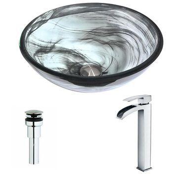 ANZZI Mezzo Series Slumber Wisp Deco-Glass Vessel Sink with Key Polished Chrome Faucet (Grey)