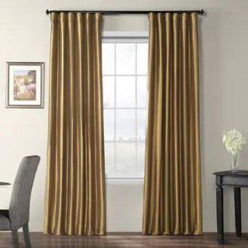 Exclusive Fabrics Faux Silk Taffeta 84-inch Blackout Curtain Panel (50 X 84 - gold nugget)