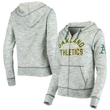 5th & Ocean by New Era Oakland Athletics Women's Green Batter Space Dye Full-Zip Hoodie