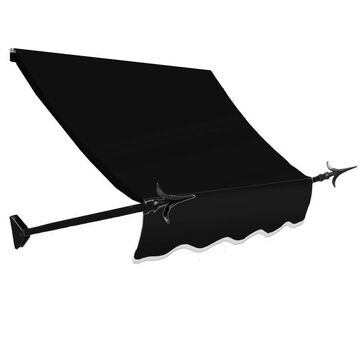 Awntech New Orleans 100.5-in Wide x 24-in Projection Black Solid Open Slope Window/Door Fixed Awning
