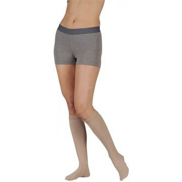 2000ADFFSBSH57 I Soft 15-20 mmHg Full Foot Knee High Compression Stockings with Silicone Top Band in Short - Cinnamon, I - Extra Small
