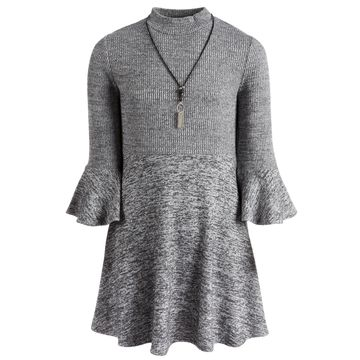 Big Girls 2-Pc. Marled Sweater Dress & Necklace Set
