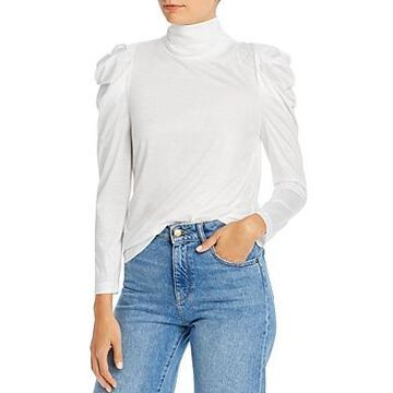 Enza Costa Puff Sleeve Turtleneck Top