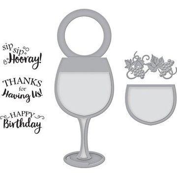 Spellbinders Stamp & Die Set-Wine Glass Bottle Tag