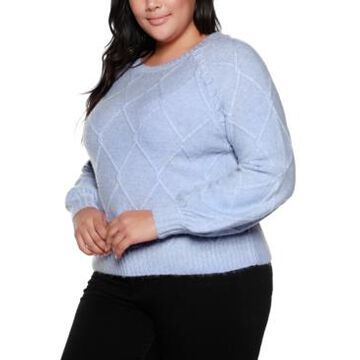 Belldini Black Label Plus Size Balloon Sleeve Cable Pullover Sweater