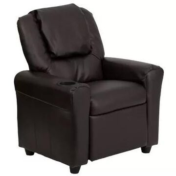 Flash Furniture Leather Kids Recliner With Headrest And Cup Holder In Brown