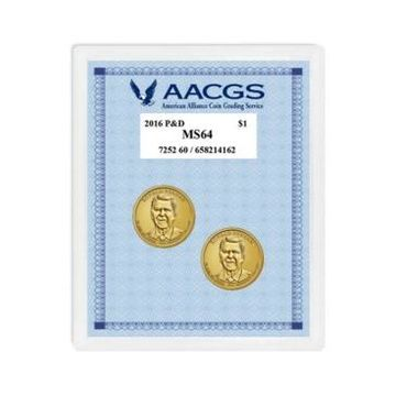 American Coin Treasures 2016 Graded MS64 Philadelphia and Denver Mint Reagan Presidential Dollars