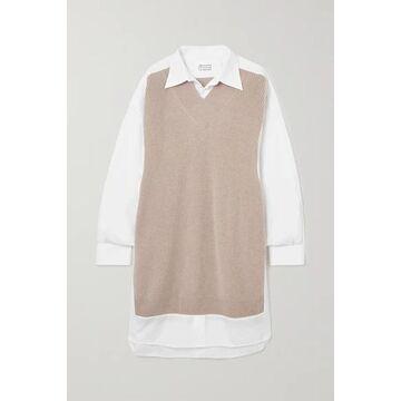 Maison Margiela - Ribbed Wool And Cotton-poplin Shirt Dress - Beige