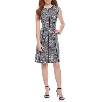 Studio 1 Sleeveless Animal Fit & Flare Dress
