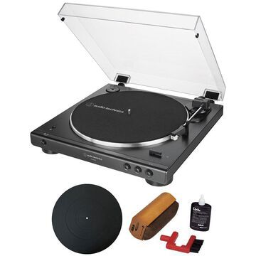 Audio-Technica AT-LP60XBT Automatic Bluetooth Belt-Drive Turntable + Essentials Bundle Black
