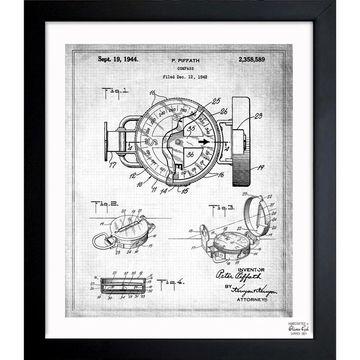 Oliver Gal 'Compass 1944' Framed Blueprint Art