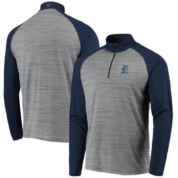Levelwear Detroit Tigers Gray/Navy Vandal Raglan Quarter-Zip Pullover Jacket