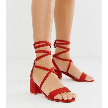 Glamorous Exclusive red tie up block heeled sandals