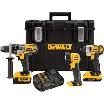 DEWALT 20V MAX Lithium-Ion Cordless Power Tool Set - 1/2Inch Hammerdrill & 1/4Inch Hex Impact Driver, With LED Worklight and 2 Batteries, Model