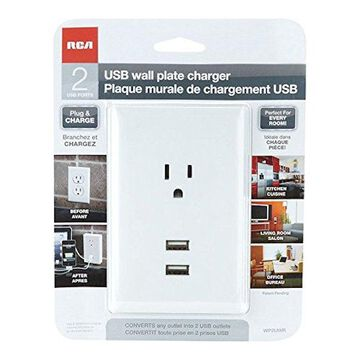 RCA Usb Wall Plate Charger 2.1 Amp White