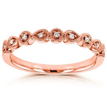Annello by Kobelli 10k Rose Gold Diamond Accented Milgrain Ring
