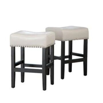 Lisette 26-inch Backless Ivory Leather Counter Stool (Set of 2) by Christopher Knight Home (Ivory)