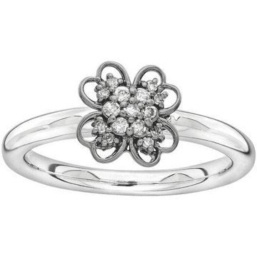 Diamond Sterling Silver and Black-Plated Flower Ring