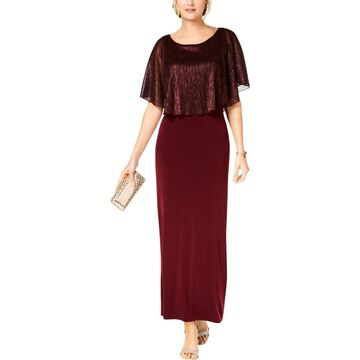 Connected Apparel Womens Metallic Cape Sleeves Maxi Dress