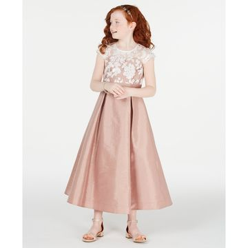 Big Girls Embroidered-Mesh Taffeta Maxi Dress