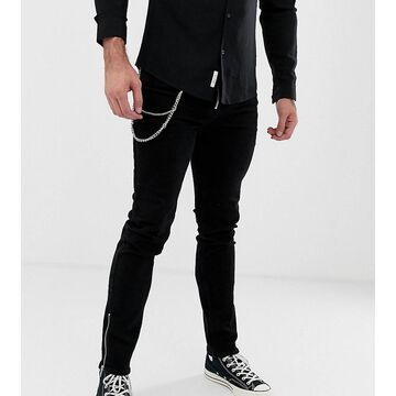 Heart & Dagger super skinny jeans with zips in black