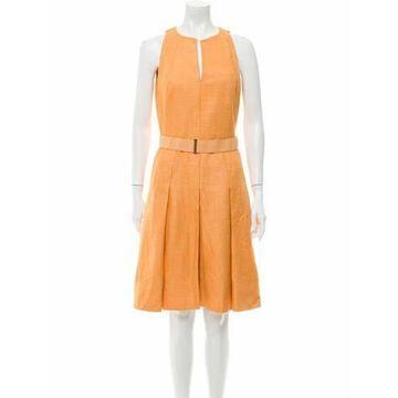 Silk Knee-Length Dress Orange