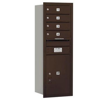 Salsbury Industries 4 Door Rear Load 4C Horizontal Mail Center with 1 Parcel Locker