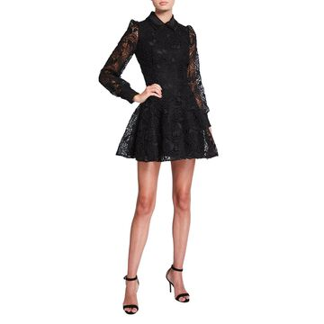 Folded Collar Lace Dress