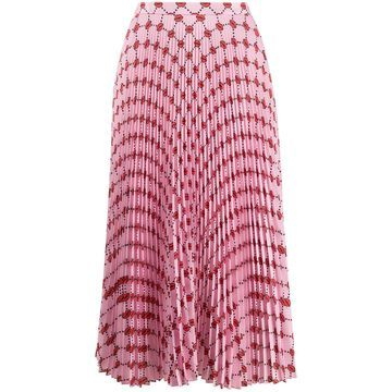 lips patterned pleated skirt