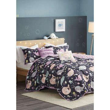 Jla Home Magical Narwhals Reversible Coverlet Set - -