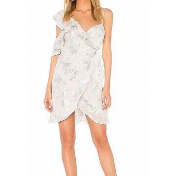 Bardot Women's Metallic Floral Wrap Dress Silk