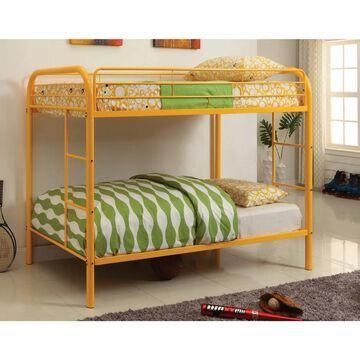 Furniture of America Hind Transitional Orange Twin/Twin Metal Bunk Bed