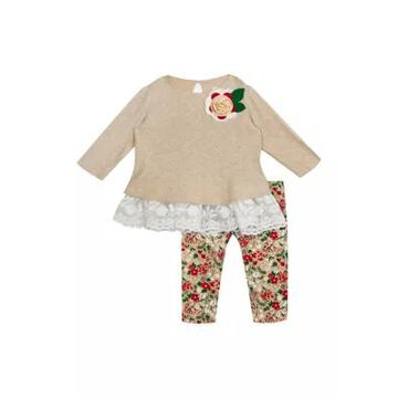 Rare Editions Girls' Toddler Girls Floral Ruffle Top And Printed Leggings - 2 Piece Set - -