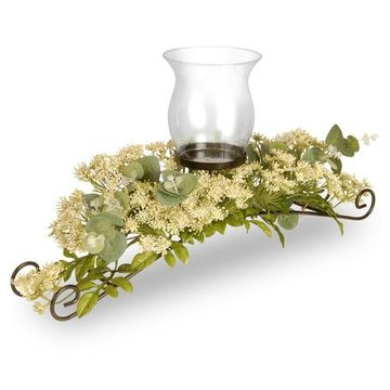 National Tree Company Artificial Dill Blossom Floral Candle Holder